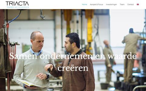 Screenshot of Home Page triacta.nl - Triacta is een hands-on investeerder met een focus op middelgrote ondernemingen - captured Nov. 9, 2017