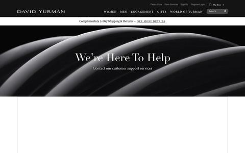 Screenshot of Support Page davidyurman.com - Customer Service - captured Aug. 6, 2018