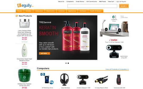 Screenshot of Home Page egully.com - Online Shopping India | Buy Books Online: Mobiles, Cameras, Tshirts, Electronics, Computers - captured July 11, 2014