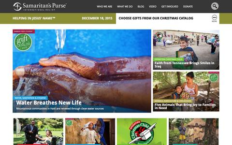 Screenshot of Home Page samaritanspurse.org - Samaritan's Purse — International Relief - captured Dec. 18, 2015