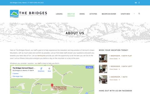 Screenshot of About Page bridgesresort.com - VT Ski Lodging, Bridges Resort Staff Info - captured June 17, 2016