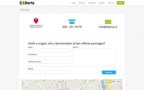 Screenshot of Contact Page liberta.nl - Contact - captured Oct. 2, 2014