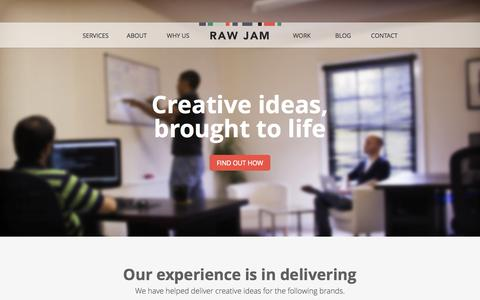 Screenshot of Home Page rawjam.co.uk - Creative ideas, brought to life | Raw Jam - captured Oct. 6, 2014