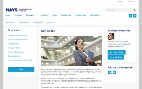 Our Values  | Hays