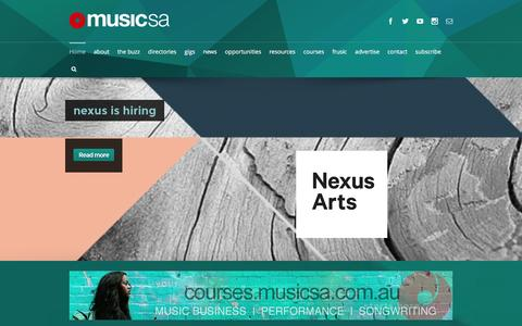 Screenshot of Home Page musicsa.com.au - Home - MusicSA - captured Jan. 12, 2016