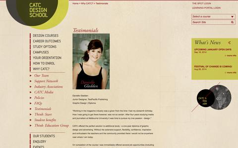 Screenshot of Testimonials Page catc.edu.au - Testimonials — CATC Design School - captured Sept. 23, 2014