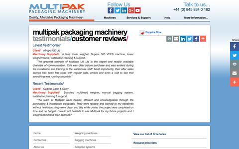 Screenshot of Testimonials Page multipak.co.uk - Multipak | Testimonials | Multipak Packaging Machinery - captured Oct. 23, 2017