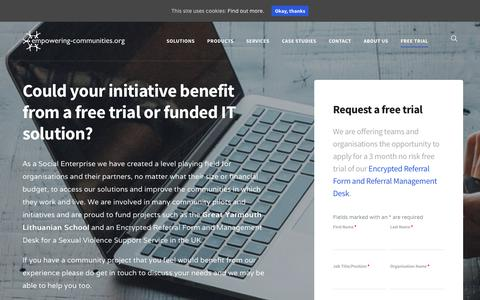 Screenshot of Trial Page empowering-communities.org - Free Trial and IT solutions - Empowering-Communities - captured July 19, 2018