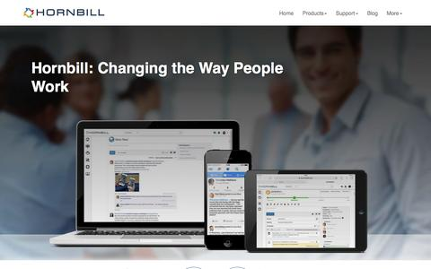 Screenshot of Home Page hornbill.com - Hornbill: Changing the Way People Work - captured July 24, 2015
