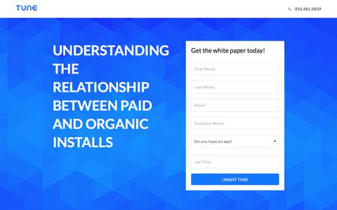 Screenshot of Landing Page tune.com - Understanding the Relationship Between Paid and Organic Installs - captured April 21, 2018