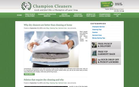 Screenshot of Press Page championcleanersfl.com - Blog - Champion Cleaners - captured Sept. 27, 2018