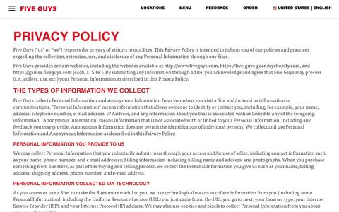 Screenshot of Privacy Page fiveguys.com - Privacy Policy - captured Sept. 23, 2018