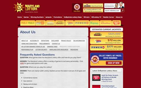 Screenshot of FAQ Page mdlottery.com - Maryland Lottery   - About Us  –  Frequently Asked Questions - captured Sept. 18, 2014