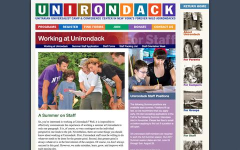 Screenshot of Jobs Page unirondack.org - Working at Unirondack | Camp Unirondack - captured July 5, 2017