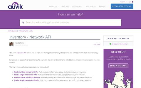 Screenshot of Support Page auvik.com - Inventory - Network API – Auvik Support - captured May 7, 2019