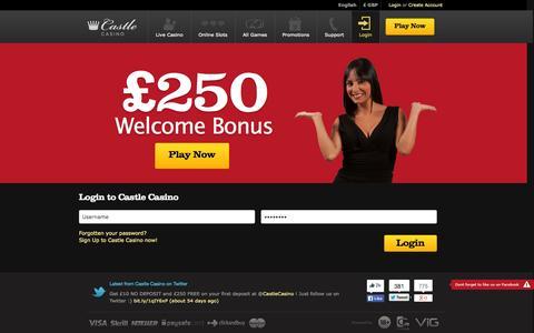 Screenshot of Login Page castlecasino.com - Login to Castle Casino - captured Nov. 1, 2014