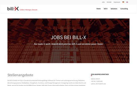 Screenshot of Jobs Page bill-x.de - Jobs | bill-X - captured June 9, 2016
