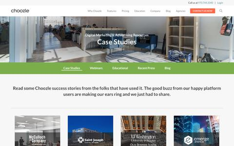 Screenshot of Case Studies Page choozle.com - Case Studies | Choozle: Digital Advertising Made Easy™ - captured March 14, 2018