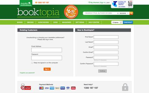 Screenshot of Signup Page booktopia.com.au - Booktopia - Books, Online Books, #1 Australian online bookstore, Buy Discount Books, eBooks and DVDs from Australia and the world. - captured Sept. 18, 2014