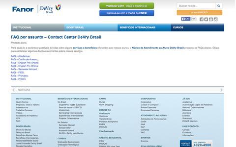Screenshot of FAQ Page fanor.edu.br - FAQ por assunto - Contact Center DeVry Brasil - captured Jan. 15, 2016
