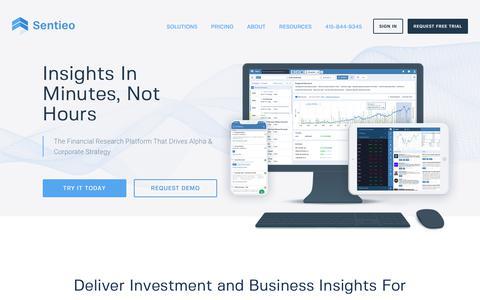 Screenshot of Home Page sentieo.com captured Sept. 13, 2019