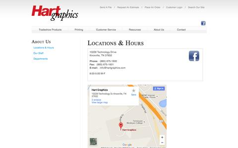 Screenshot of About Page hartgraphics.com - Hart Graphics, Inc. : About Us : Locations & Hours - captured Dec. 7, 2015