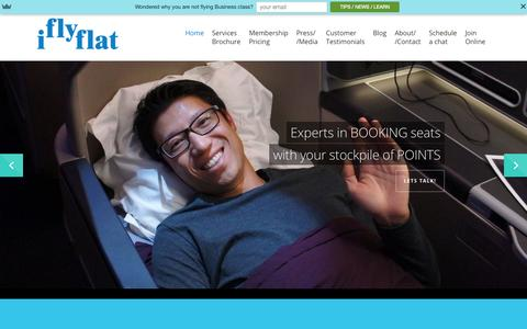 Screenshot of Home Page iflyflat.com.au - IFLYFLAT - The Frequent Flyer Points Whisperer - captured Sept. 7, 2015