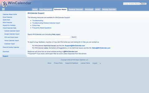 Screenshot of Support Page wincalendar.com - WinCalendar Support - captured Sept. 22, 2018