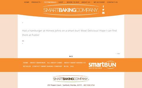 Screenshot of Testimonials Page smart-baking.com - testimonials | Gluten Free-low calorie-Cakes and Breads - captured Feb. 21, 2016