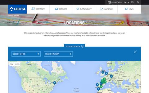 Screenshot of Locations Page lecta.com - Lecta | Locations - captured July 13, 2016