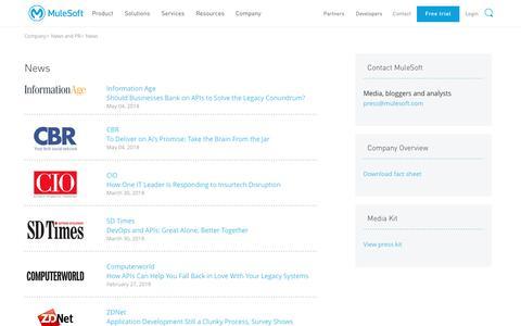 Screenshot of Press Page mulesoft.com - In the News   MuleSoft - captured June 15, 2018
