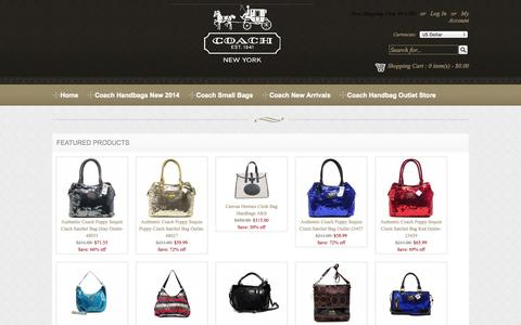 Screenshot of Home Page coach--handbags.com - Coach Outlet Online Store | Coach Handbags New 2013 / 2014 Official - captured Sept. 19, 2014