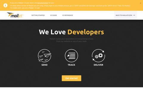 Screenshot of Developers Page mailjet.com - Mailjet for Developers - captured Oct. 28, 2014