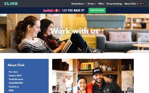Screenshot of Jobs Page clinkhostels.com - Work with us – Clink Hostels - captured Sept. 22, 2018