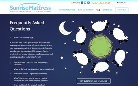 Screenshot of FAQ Page sunrisemattress.com - FAQ - Sunrise Mattress - captured June 17, 2017