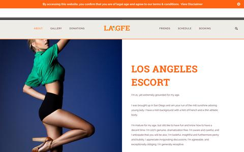Screenshot of About Page lagfe.com - LA GFE | Los Angeles Escort and GFE Companion - captured June 28, 2017