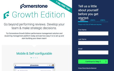 Screenshot of Trial Page cornerstoneondemand.com - Performance Management Growth Edition - Free Trial | Cornerstone - captured Dec. 6, 2016