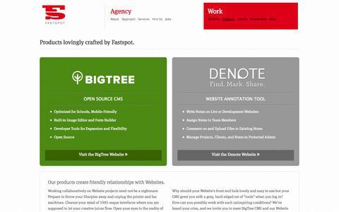 Screenshot of Products Page fastspot.com - BigTree CMS & Denote | Fastspot - captured Sept. 30, 2014