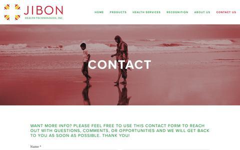 Screenshot of Contact Page jibonhealth.com - Contact Us — Jibon Health Technologies, Inc. - captured Oct. 13, 2018
