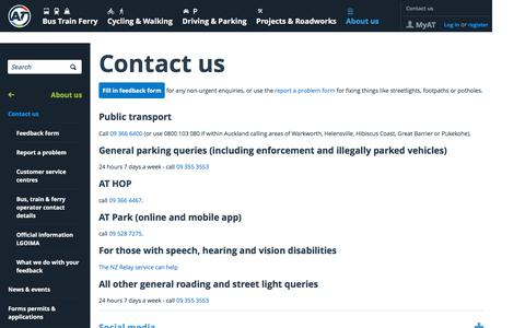 Screenshot of Contact Page at.govt.nz - Contact us - captured Nov. 20, 2019