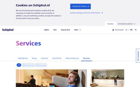 Screenshot of Services Page schiphol.nl - Schiphol | All services at Schiphol - See all options - captured Oct. 12, 2019