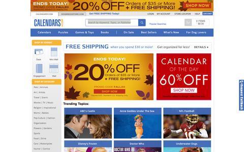 Screenshot of Home Page calendars.com - 2015 Calendar / Wall Desk Calendars | Buy Calendars Online | Calendars.com - captured Sept. 24, 2014