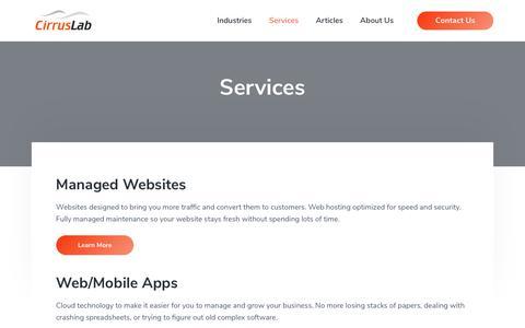 Screenshot of Services Page cirruslab.com - Services | CirrusLab Inc. - captured Dec. 8, 2018