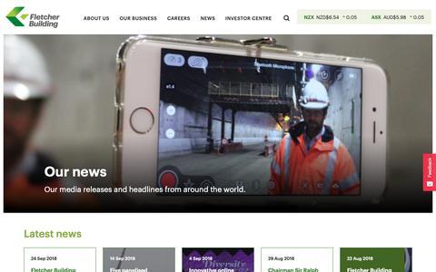 Screenshot of Press Page fletcherbuilding.com - News | Fletcher Building - captured Sept. 30, 2018