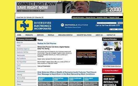 Screenshot of Press Page diversifiedelectronics.com - News & Events Diversified Electronics locations in Atlanta area and Greenville, South Carolina Motorola Two-Way Radio Dealer - captured Oct. 10, 2014