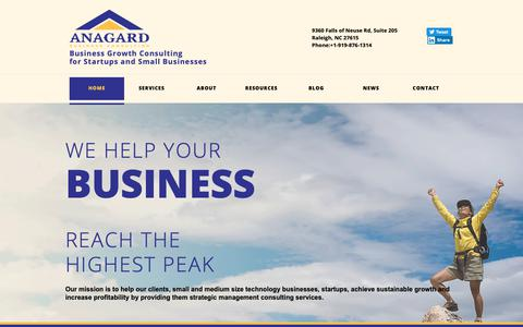 Screenshot of Home Page anagard.com - ANAGARD, LLC Business Growth Consulting for Startups and Small Businesses - captured May 14, 2019
