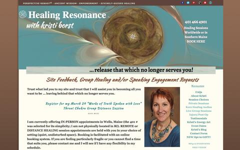 Screenshot of Contact Page healing-resonance.info - Healing Resonance Contact Form - captured March 18, 2016