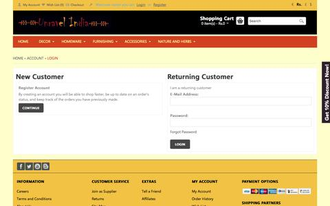 Screenshot of Login Page unravelindia.in - Account Login - captured Oct. 26, 2014