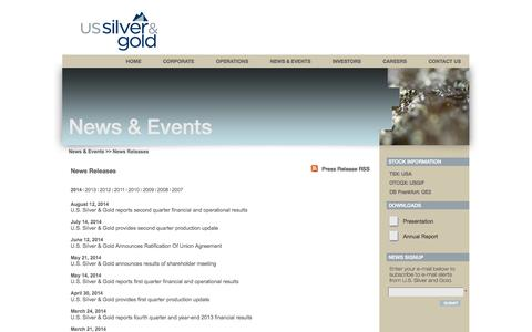 Screenshot of Press Page us-silver.com - U.S. Silver & Gold Inc. - News & Events - News Releases - captured Oct. 3, 2014