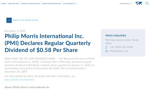 Screenshot of Press Page pmi.com - Philip Morris International Inc. (PMI)  Declares Regular Quarterly Dividend of $0.58 Per Share - captured Nov. 1, 2018